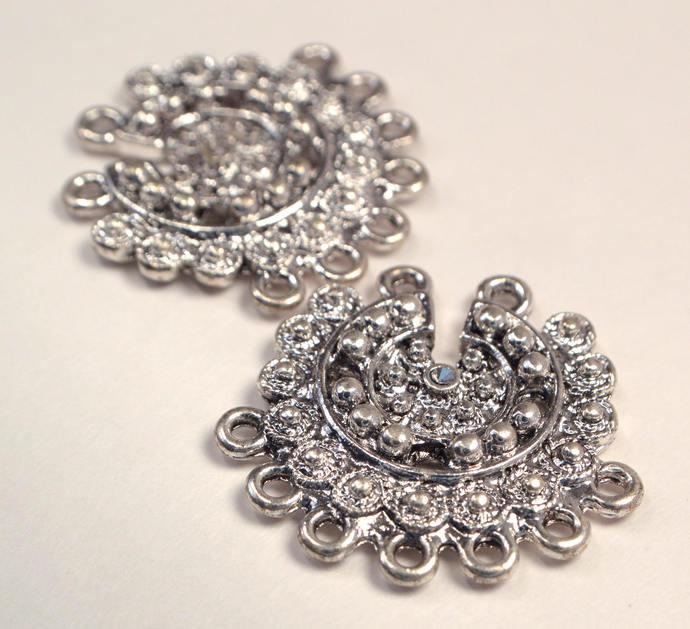 Vintage Silver 7 Loop Earring Making Component, Ornate Silver Metal Earring