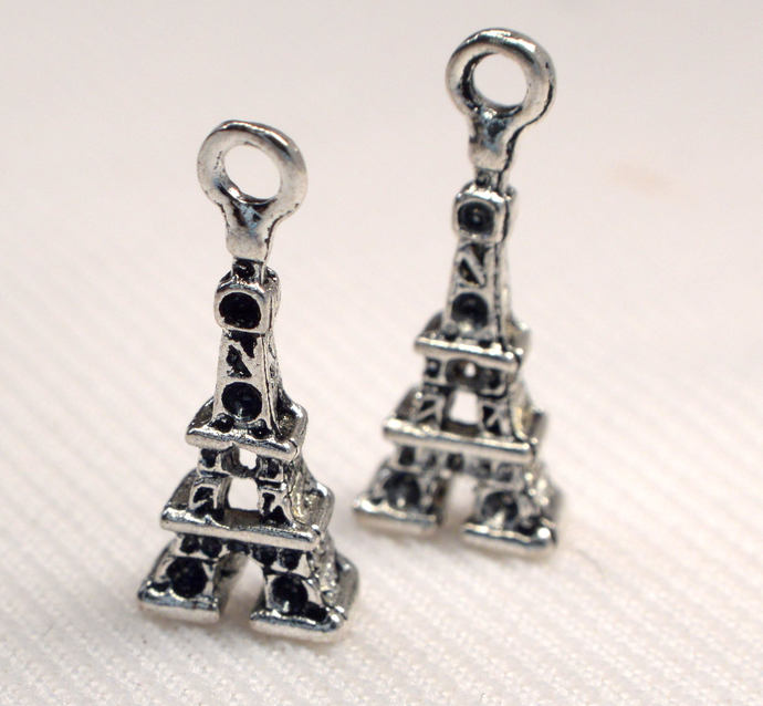 Eiffel Tower Charms, 2 Loose Antique Silver Eiffel Tower Charms, Jewelry Making