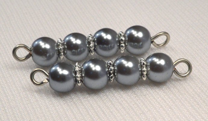 Grey Pearl & Silver Bead Connector, Long Gray Link Connector, DIY Jewelry