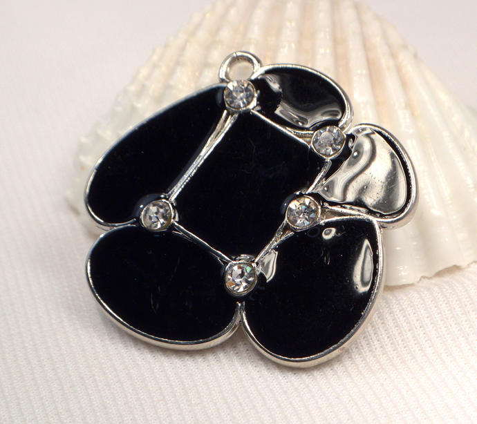Black Pendant, Black Enamel Crystal Accented Pendant, Necklace Jewelry Making
