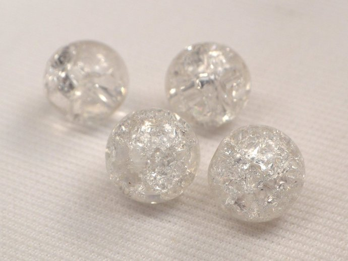 Crystal Clear Crackle Beads, Glass Crackle Beads, Beads For Jewelry Making, 6