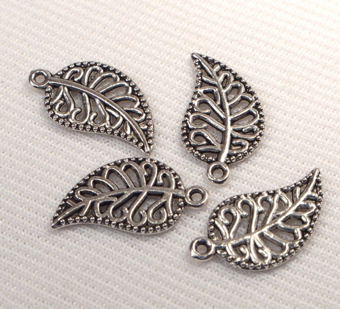 Antique Silver Leaf Charms, 4 Loose Filigree Leaf Charms, Jewelry Making