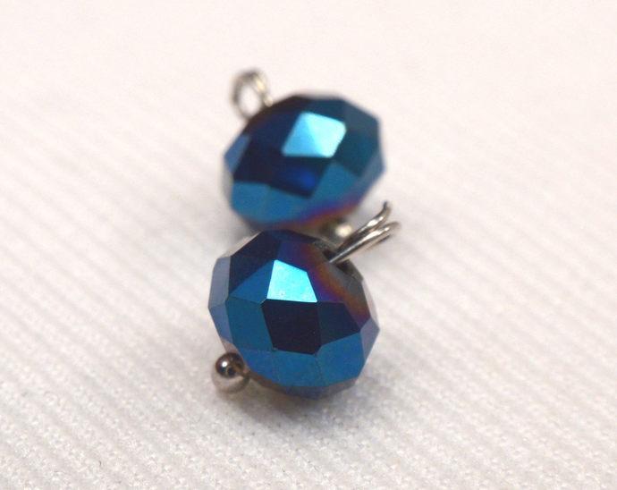 Metallic Navy Blue Crystal Charms, Blue Crystal Jewelry Charm Supplies, Deep