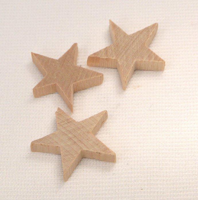 Wood Stars, 5 Loose Eco Friendly Stars, Unfinished Wood Stars, Craft Supplies,