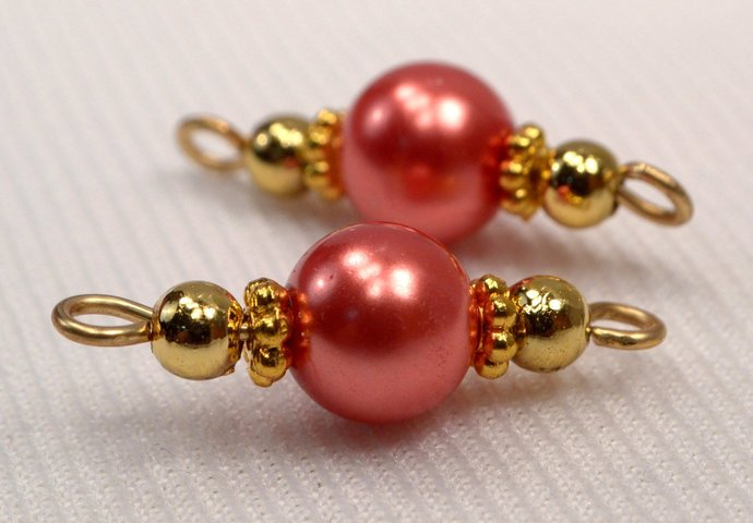 Red Orange Pearl Connectors, Orange Red & Gold Bead Jewelry Link Connectors, Add