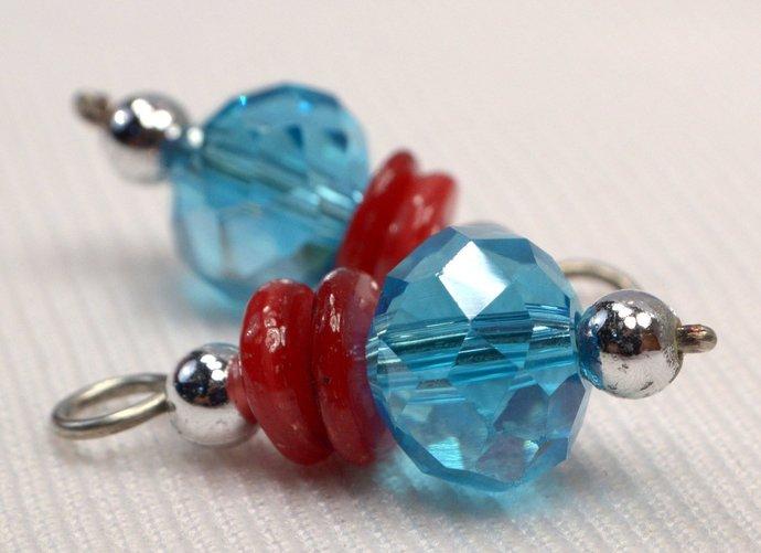 Aqua Blue Crystal & Red Shell Charm Dangles, 2 Light Blue Crystal Jewelry