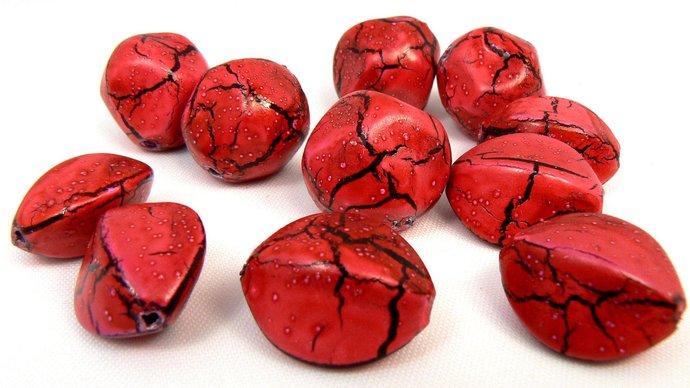 Fuschia & Black Crackle Beads, 11 Vintage Fuschia Pink Beads, Beads For Jewelry