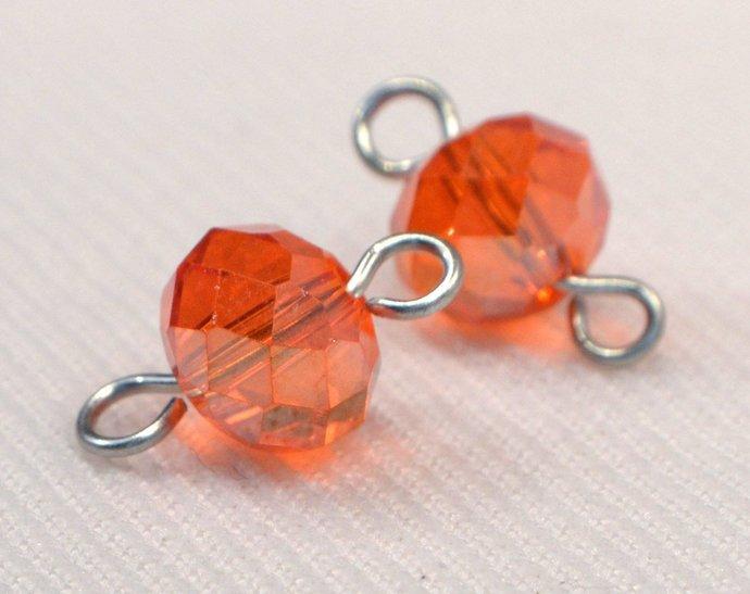 Orange Crystal Connectors, Orange Jewelry Charm Links, Loose Orange Sparkle