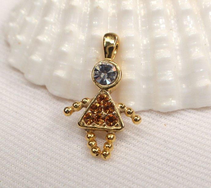 Vintage Topaz Crystal Girl Charm, Topaz Crystal November Birthstone Charm, Charm