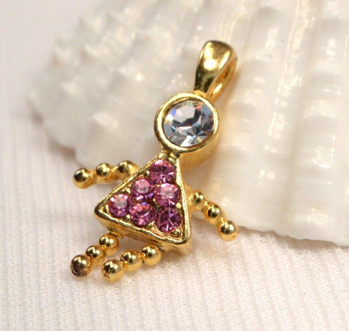 Vintage Pink Zircon Crystal Girl Charm, Pink Crystal October Birthstone Charm,