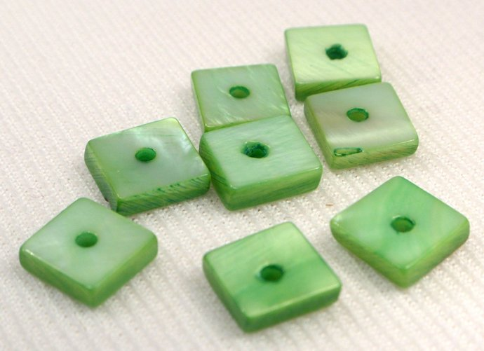 Green Mother Of Pearl Shell Square Beads, 10 Loose Green Flat Shell Square
