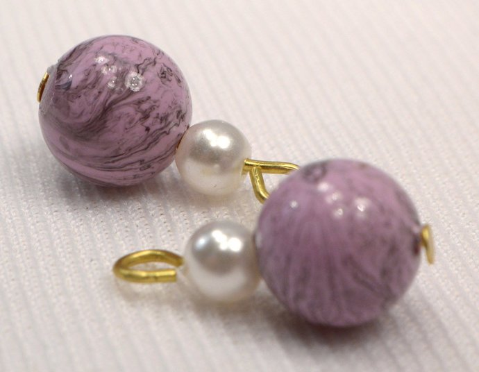 Lavender Charms, Purple Marbled & White Bead Jewelry Charm, Loose Charm For