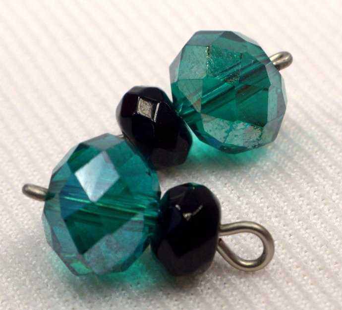 Teal and Black Crystal Charms, Loose Jet Black & Teal Crystal Jewelry Charms,