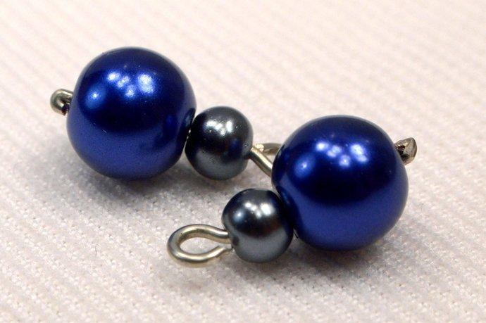 Navy Blue And Grey Pearl Bead Handmade Charms, Loose Pearl Charms, Blue & Grey