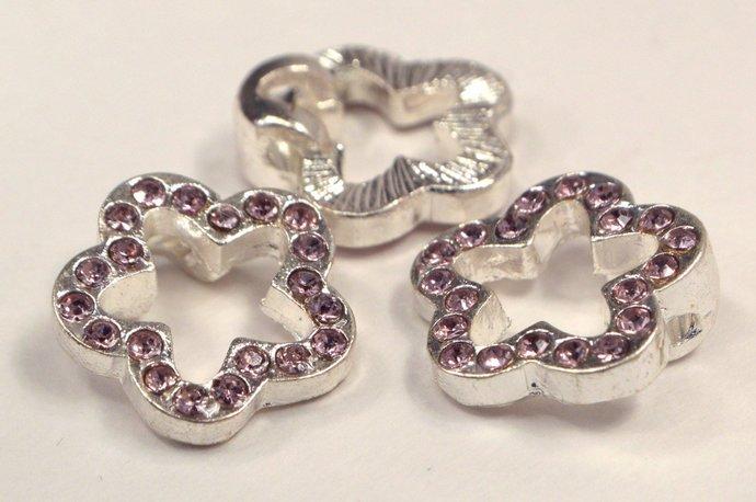 Light Purple Crystal Flower Charms, Amethyst Purple Jewelry Charm Supplies,
