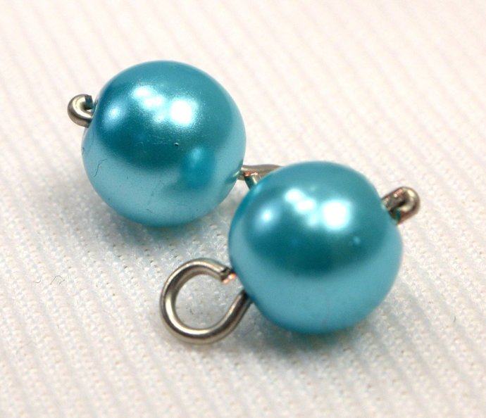 Turquoise Pearl Charm Dangles, Pearl Jewelry Charms, Light Blue Pearl Add On