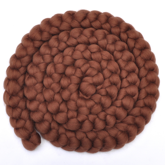 Newborn Photo Prop - Brown Merino wool roving braid, 8 ounces