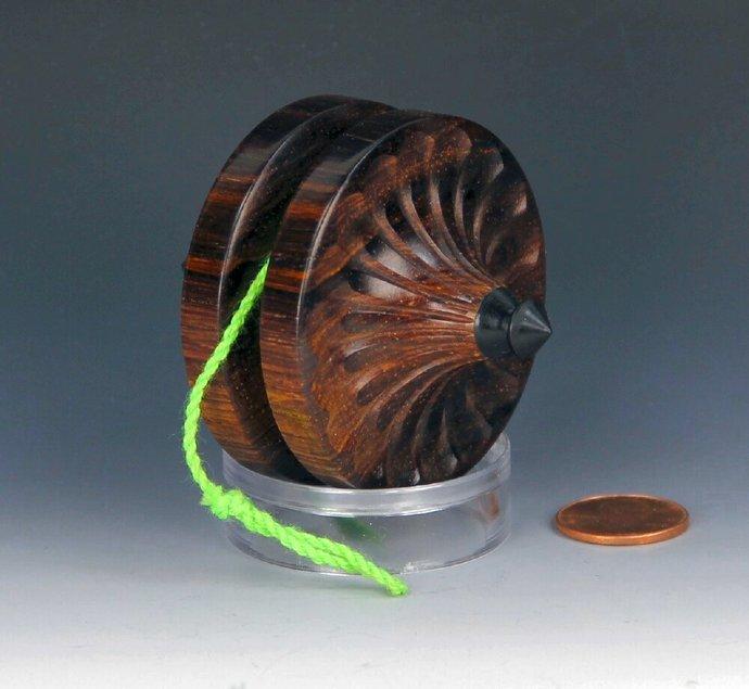 Handmade Terror Top Yo-Yo, Fixed Axle Mexican Cocobolo Wood