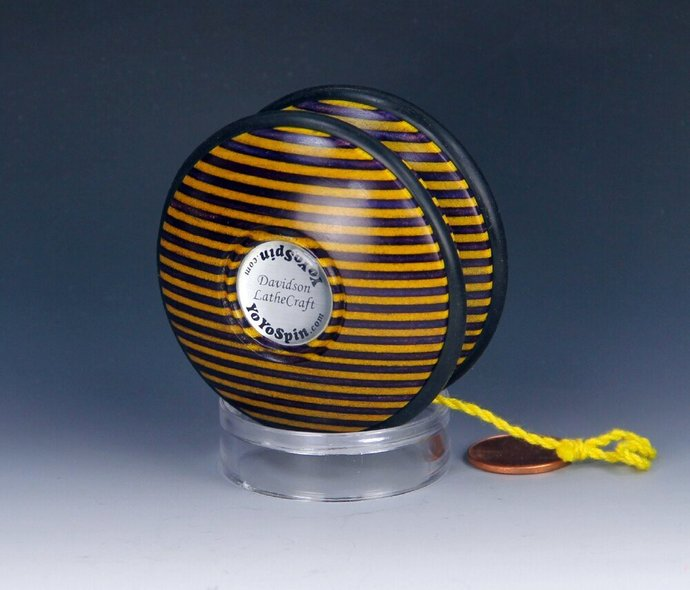 Handmade Toy YoYo, Fixed Axle Imperial Shape, Laminated & Dyed Hardwood