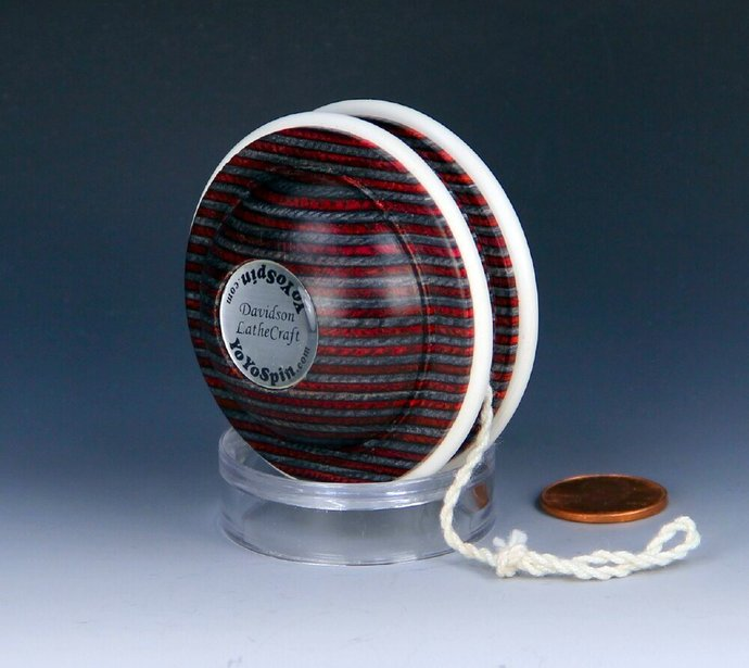 Handmade Toy YoYo, Fixed Axle Satellite Shape, Laminated & Dyed Hardwood