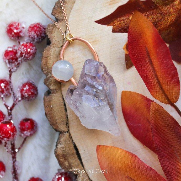 Amethyst Mountain / Copper Crystal Pendant / Raw Amethyst Rock Crystal Quartz /