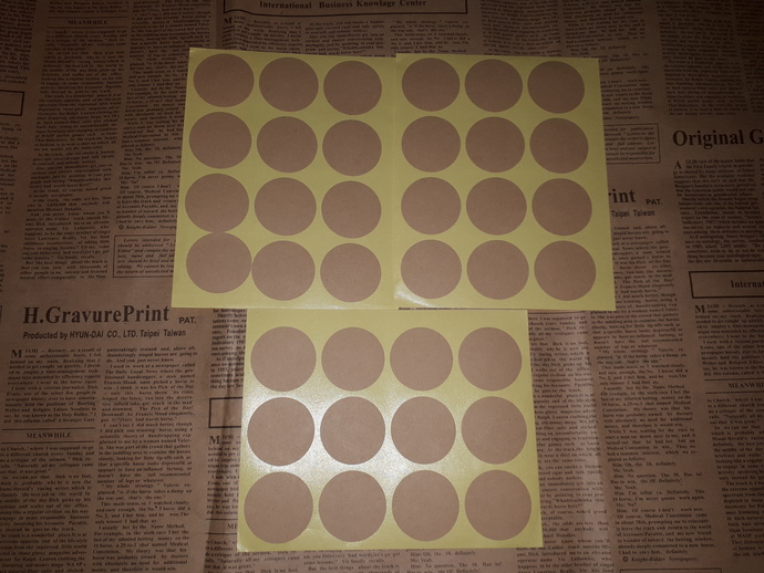 P109 Kraft Stickers (3 Sheets Total 36 Stickers) Round Circles, Ideal to Stamp