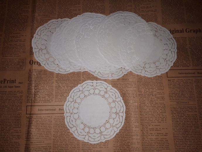 P111 White Paper Doilies (Pack of 10) Coffee Dye or Ink me to make me different