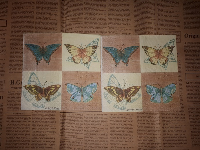 N110 Paper Napkins (Pack of 2) Blue Butterfly Yellow Butterfly, Kraft Yellow,