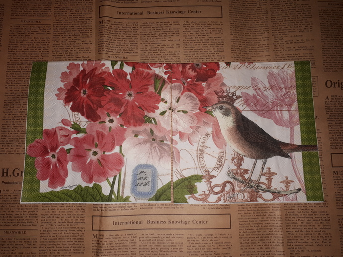 N111 Paper Napkins (Pack of 2) Bird With Crown, Pink flowers, Royal Cres,