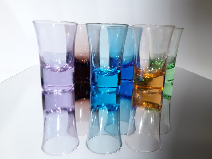 Modern colors... Six shot glasses