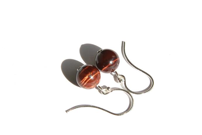 Red Tiger Eye Sterling Earrings Reddish Brown Small Earrings Natural Stone