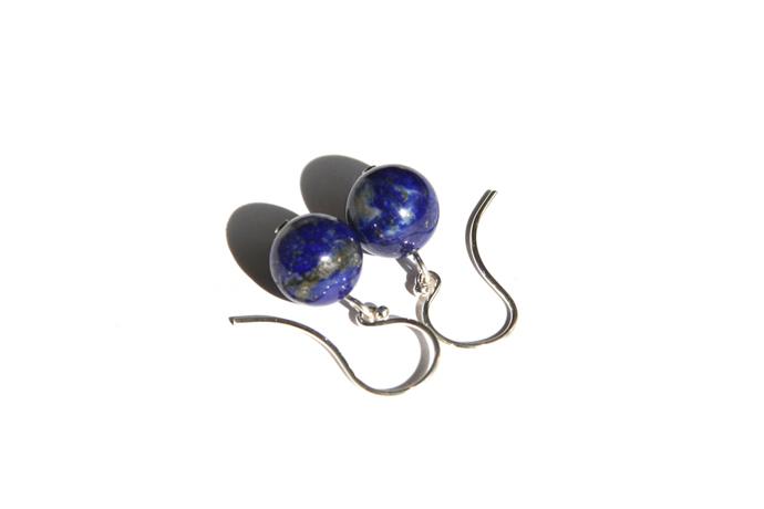 Lapis Lazuli Sterling Earrings Argentium Sterling Silver Blue Lapis Natural