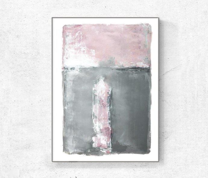Blush Pink Decor Pink & Grey Abstract Printable Art - Modern Abstract Art -