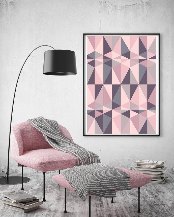 Pink & Grey Geometric Poster, Abstract Print, Scandinavian Print, Blush Wall
