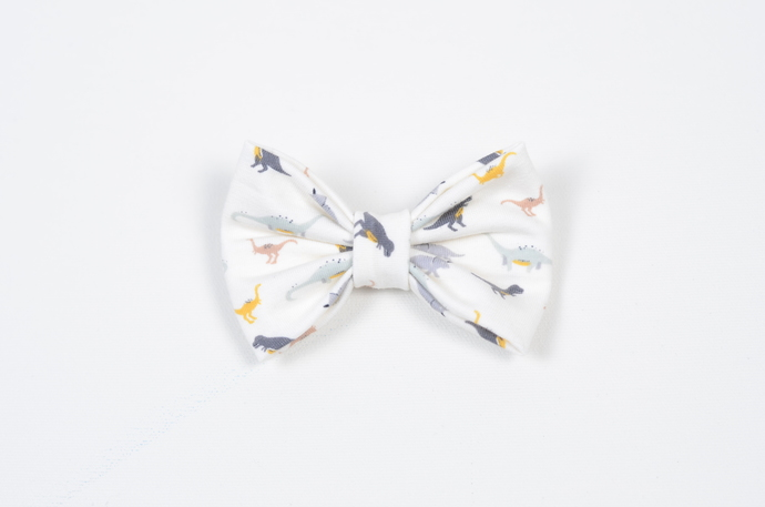 Large Cotton Bow Clip//Clip on Bow Tie - Tiny Dino
