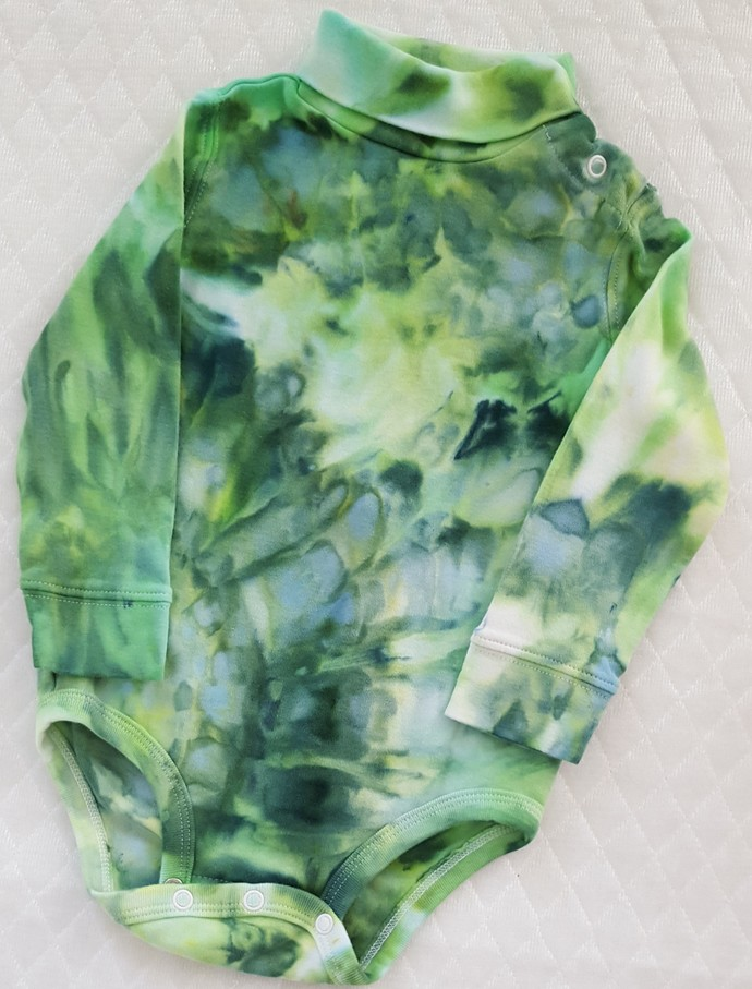 Unisex Turtleneck  Bodysuit, Ice Dyed Top,  Shades Green and Blue, Great Holiday