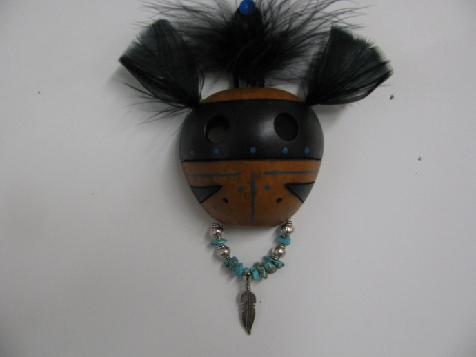 Gourd Art Mask Hand Painted Pyrography Turquoise Chip Beads Metal Feather Charm