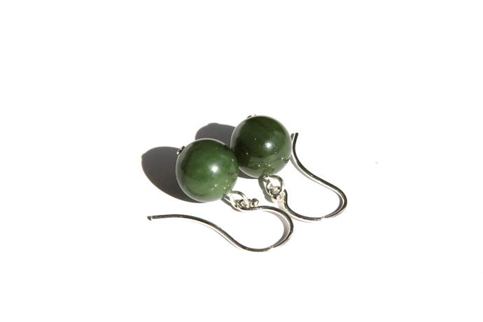 Jade Sterling Earrings Natural British Columbia Nephrite Jade Earrings Olive