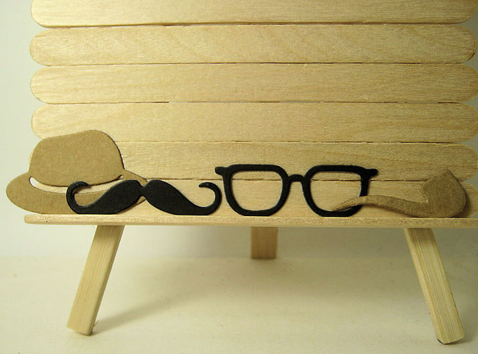 4pc Men's Glasses, Hat, Mustache, Pipe, Metal Cutting Die Set