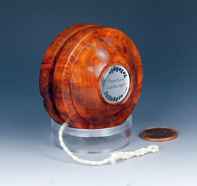 Handmade Toy YoYo, Fixed Axle Satellite made from Rare Red Amboyna Burl Wood