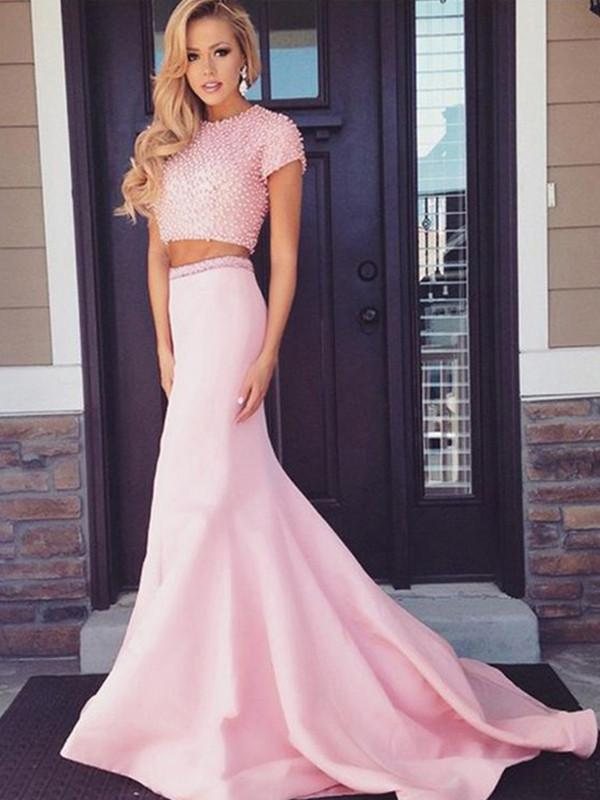 Sexy Pink Two Piece Prom Dress Satin Evening Dress Beading Formal Gowns A2610