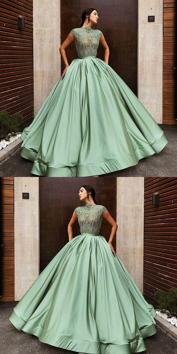 Ball Gown Jewel Green Long Prom Dress with Lace