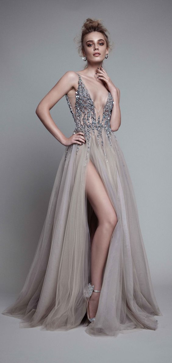 Sexy Gray Prom Dresses V-neck A-line Floor-length Tulle Prom Dress Evening  Sexy
