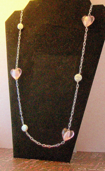 Pink Glass Hearts and White Coin Pearls Necklace