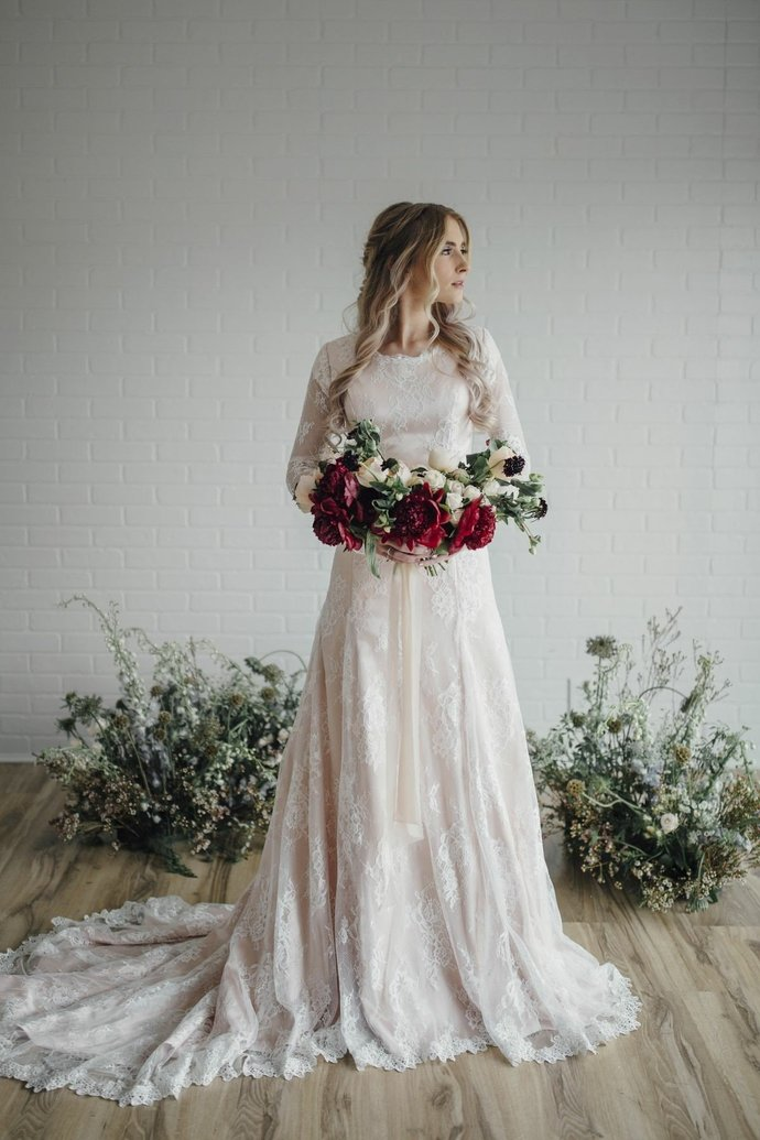 Modest Lace Wedding Dress Wedding Gown, Long Sleeves Long Wedding Dresses Bridal