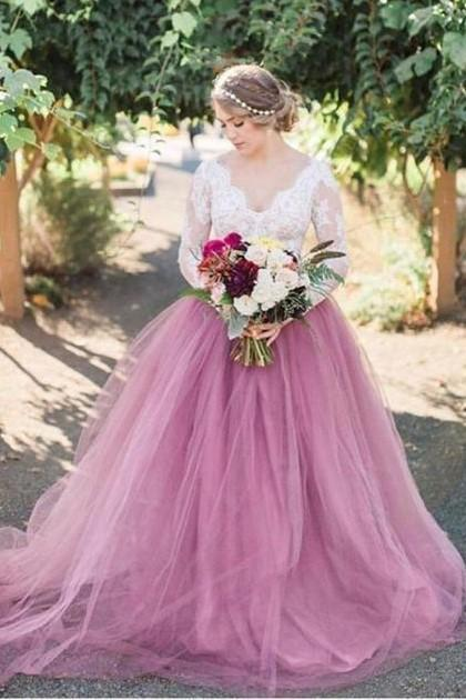 Mauve Colored Tulle Wedding Dress with Long Lace Sleeves, Tulle Long Wedding