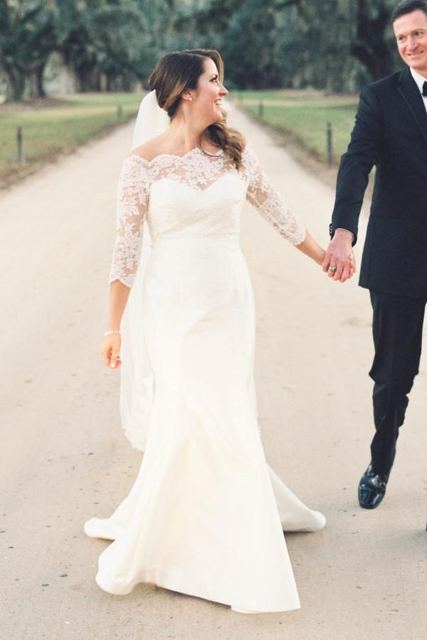 Fitandflare Wedding Gown With Scalloped Lace By Miss Zhu Bridal On