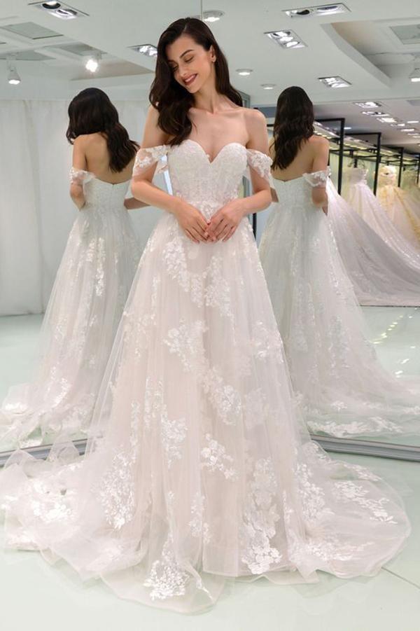 Off Shoulder Wedding Dress.A Line Off The Shoulder Wedding Dresses Lace Tulle Skirt Long Tulle Wedding Dress Bridal Dress Wedding Gown