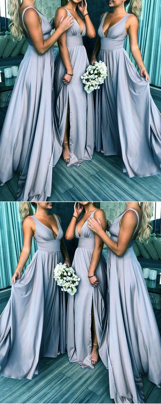 Sexy Plunge V-neck Long Jersey Bridesmaid Dresses With Leg Split