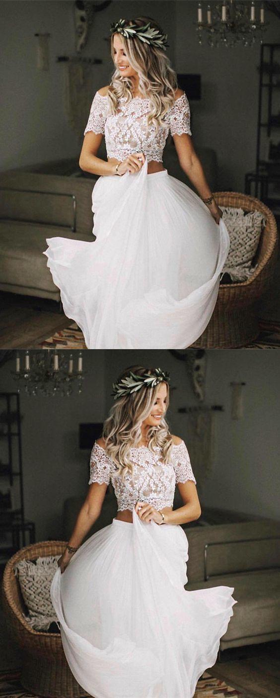 Boho Chic Lace Crop Chiffon Wedding Dresses Two Piece